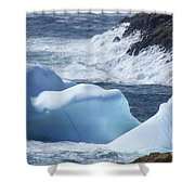 Pounding Surf With Icebergs Shower Curtain