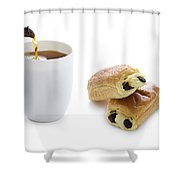 Pouring Tea With Pain Au Chocolat Shower Curtain