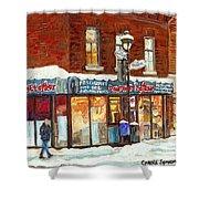 Poutine Lafleur Rue Wellington Verdun Art Montreal Paintings Cold Winter Walk City Shops Cspandau   Shower Curtain