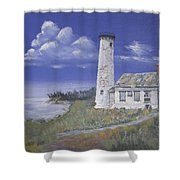 Poverty Island Lighthouse Shower Curtain