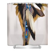 Pow Wow Regalia - White Shower Curtain