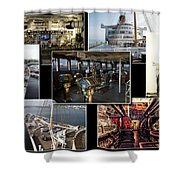 Power Collage Queen Mary Ocean Liner Long Beach Ca 01 Shower Curtain