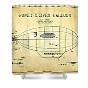 Power Driven Balloon Patent-vintage Shower Curtain