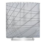 Power Lines Fill The Sky Shower Curtain