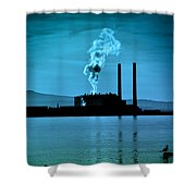 Power Station Silhouette Shower Curtain by Craig B