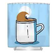 Powered By Coffee Shower Curtain