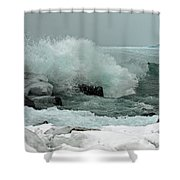 Powerful Winter Surf Shower Curtain