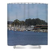 pr 204- Santa Cruz Harbor pano Shower Curtain