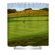 Practice Green At Spanish Bay Detail Shower Curtain