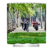 Practicing Martial Arts Shower Curtain