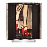 Prada Red Shoes Shower Curtain