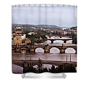 Prague Cityscape - Texture Shower Curtain