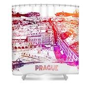 Prague Skyline Panorame Shower Curtain