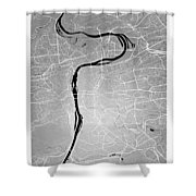 Prague Street Map - Prague Czech Republic Road Map Art On Colore Shower Curtain