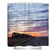 Prairie Sunrise With Train Shower Curtain