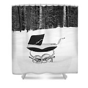 Pram In The Snow Shower Curtain