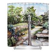 Prayer Wheel At Pacifica's Lambert Campus- Postcard Shower Curtain