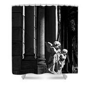 Praying Angle - Sucre Cemetery In Black And White Shower Curtain