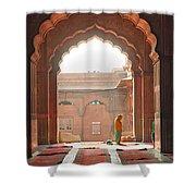 Praying At The Jama Masjid Mosque - Old Delhi Shower Curtain