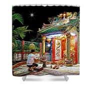 Praying At The Shrine. Shower Curtain