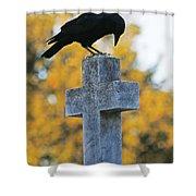 Praying Crow On Cross Shower Curtain