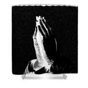 Praying Hands Black And White Glow Shower Curtain