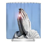 Praying Hands Lens Flare Shower Curtain