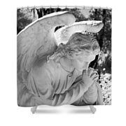 Praying Male Angel Near Infrared Black And White Shower Curtain