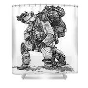 Praying  Soldier  Shower Curtain by Murphy Elliott