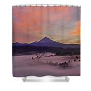Pre Sunrise Over Mount Hood Panorama Shower Curtain