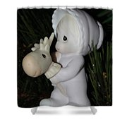 Precious Moments Baby Christmas Ornament Shower Curtain
