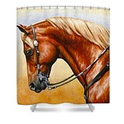 Precision - Horse Painting Shower Curtain by Crista Forest