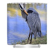 Preening By The Pond Shower Curtain