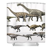 Prehistoric Era Dinosaurs Of Niger Shower Curtain by Nobumichi Tamura