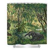 Prehistoric, Miocene Landscape Shower Curtain