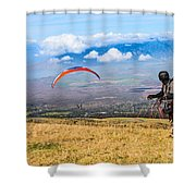 Preparing For Take Off - Paragliders Taking Off High Over Maui. Shower Curtain