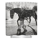 Presentation In Charcoal Shower Curtain