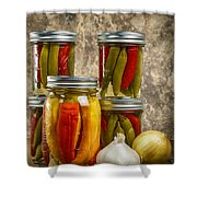 Preserved Peppers Shower Curtain