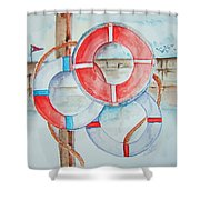 Preserver Rings On Guard Shower Curtain