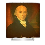 President James Madison Portrait And Signature Shower Curtain