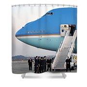 President Obama, Osan Air Base, Korea Shower Curtain