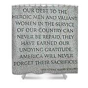 President Truman's Dedication To World War Two Vets Shower Curtain