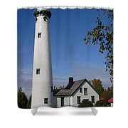 Presque Isle Mi Lighthouse 5 Shower Curtain