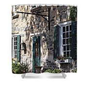 Pretty Brick Building And Flower Boxes Shower Curtain