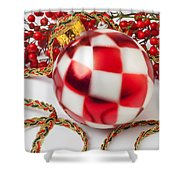 Pretty Christmas Ornament Shower Curtain