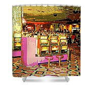 Pretty In Pink Bar Stools And Slots Reserved For Spring Break High Rollers   Shower Curtain