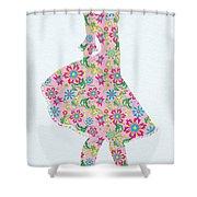 Pretty In Pink Flower Girl Shower Curtain