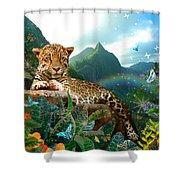 Pretty Jaguar Shower Curtain by Alixandra Mullins