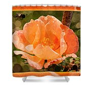 Pretty Peachy Rose Abstract Flower Shower Curtain