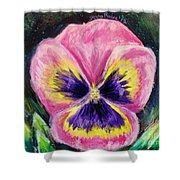 Pretty Pink Pansy Person Shower Curtain